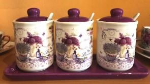 Set condimente ceramica - lavanda- model cu 3 recipiente