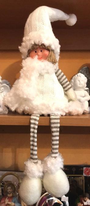 Fetita cu picioare atarnate- decoratiune craciun- alb- 38 cm