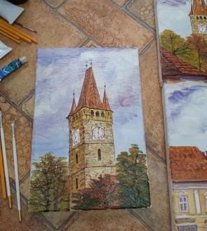 Tablou - 20x30 cm -Turnul lui Stefan - Baia Mare - model 1