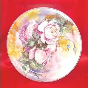 Platou portelan pictat manual - Trandafiri roz - 30cm