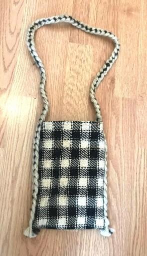 Traista lana in carouri - pentru sticle - alb-negru