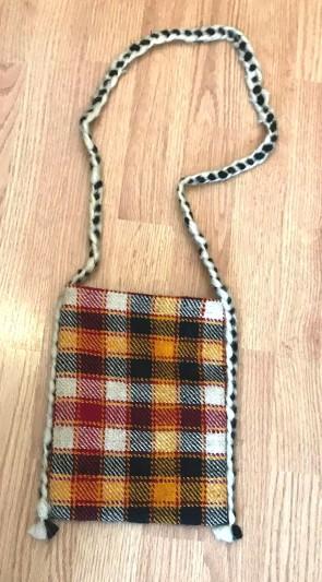 Traista lana in carouri - pentru sticle - rosu-galben