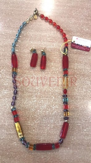 Set bijuterie - sticla Murano - cu margele  lungi - rosu-auriu